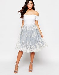 Glamorous Midi Skirt With Lace Overlay Blue