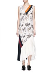 Stella Mccartney 'Ilona' Stripe Cat Print Asymmetric Silk Dress Multi Colour