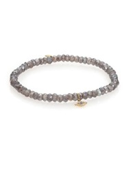 Sydney Evan Diamond Sapphire Labradorite And 14K Yellow Gold Evil Eye Beaded Stretch Bracelet Grey Gold
