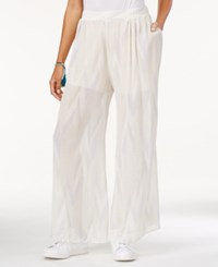 Rachel Rachel Roy Crinkled Printed Pull On Palazzo Pants White Combo