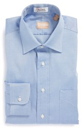 Gitman Brothers Vintage Men's Big And Tall Regular Fit Pinpoint Cotton Oxford Point Collar Dress Shirt Blue
