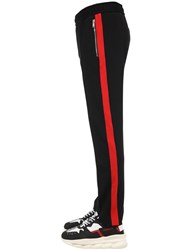 Versace Viscose Blend Jersey Track Pants Black