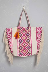 Forever 21 America And Beyond Fringe Tote White Multi