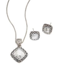John Hardy Classic Chain Hammered Sterling Silver Pendant Necklace And Stud Earring Heritage Gift Set