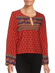 Minkpink Printed Bishop Sleeve Top Orange Multicolor