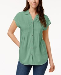 Styleandco. Style Co Pleated Cuffed Sleeve Top Created For Macy's Sweet Mint