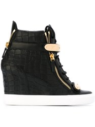 Giuseppe Zanotti Design Crocodile Effect Hi Top Wedge Sneakers Black