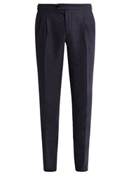 Thom Sweeney Tapered Leg Linen Trousers Navy