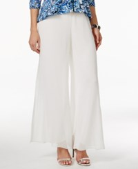 Alex Evenings Wide Leg Chiffon Pants White
