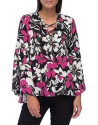 B Collection By Bobeau Dawn Flared Sleeve Blouse Boa Floral