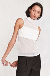 Silence And Noise Blaire Mock Neck Mesh Tank Top White