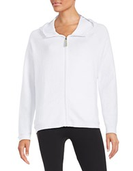 Bench Crinkle Zip Front Hoodie White