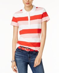 Tommy Hilfiger Striped Polo Shirt Only At Macy's Poinsettia