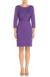 Donna Ricco Stretch Knit Sheath Dress Purple