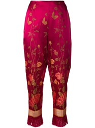 Jean Paul Gaultier Vintage Floral Print Cropped Trousers Red