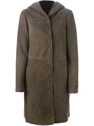 Etro Hooded Shearling Coat Brown