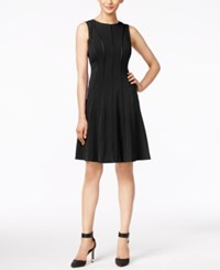 Calvin Klein Petite Piped Fit And Flare Dress Black