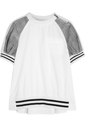 Sacai Cotton And Laser Cut Prince Of Wales Checked Jacquard T Shirt White
