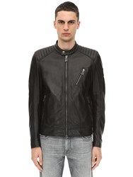 Belstaff V Racer Tumbled Leather Jacket Black