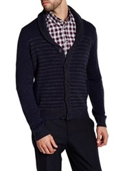 Kenneth Cole Wool Blend Striped Shawl Collar Sweater Blue