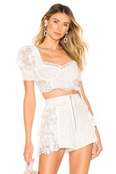 For Love And Lemons Indio Lace Crop Top White