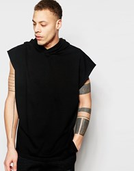 Asos Super Oversized Hooded Longline T Shirt With Long Side Splits In Heavyweight Fabric Black