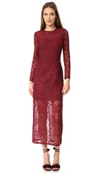 Cynthia Rowley Long Sleeve Lace Dress Burgundy