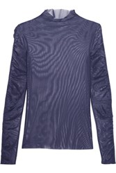 Opening Ceremony Ruched Mesh Top Midnight Blue