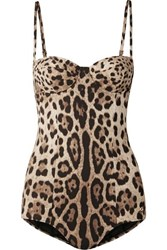 Dolce And Gabbana Cutout Leopard Print Underwired Swimsuit Leopard Print