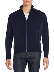 Saks Fifth Avenue Quilted Panel Wool And Cashmere Jacket Navy