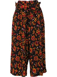 Y's Floral Pattern Belted Trousers Black