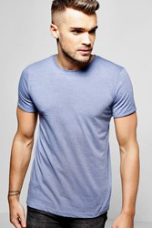 Boohoo Neck T Shirt With Rolled Sleeve Denim