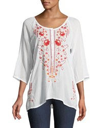 Johnny Was Olivia 3 4 Sleeve Embroidered Blouse Plus Size White