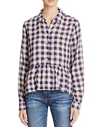 Birds Of Paradis Peplum Plaid Shirt Navy Antique White Check