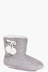 Boohoo Fleece Lined Pom Pom Slipper Boots Grey