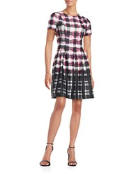 Vince Camuto Short Sleeve Plaid Fit And Flare Dress Pink Black