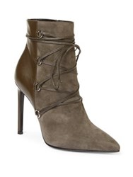 Saint Laurent Paris Suede And Leather Lace Up Booties Dark Anthracite Black