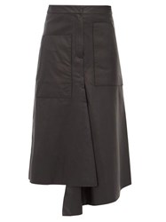 Tibi Asymmetric Leather Midi Skirt Black