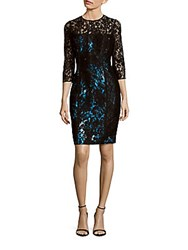 Carmen Marc Valvo Three Quarter Sleeve Floral Dress Black Turquoise