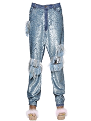 Ashish Sequined And Fringed Cotton Pants Green Silver