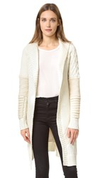Prabal Gurung Oversized Shawl Collar Chunk Knit Cardigan Ivory White