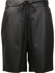 Giamba Leather Effect Lace Up Shorts Black