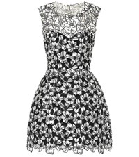 Monique Lhuillier Floral Lace Minidress Black