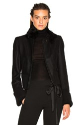 Ann Demeulemeester Fur Collar Jacket In Black