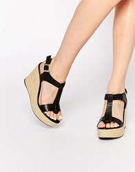 Dune Kali Black Leather Espadrille Wedge Sandals Black