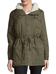 Candc California Faux Fur Cotton Anorak Jacket Olive
