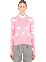 Thom Browne Intarsia V Neck Cotton Knit Sweater Pink