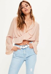 Missguided Nude Chiffon Ruffle Wrap Over Crop Blouse