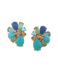 Carolee Stone Cluster Clip On Earrings 100 Exclusive Gold Blue