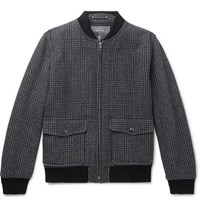 Private White V.C. Prince Of Wales Checked Wool Bomber Jacket Charcoal